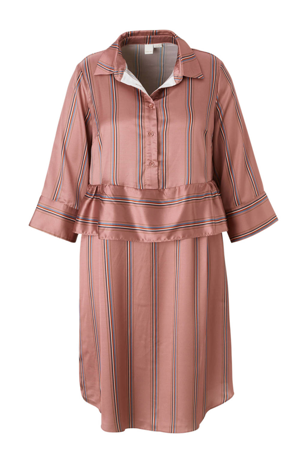 Lost Ink Plus jurk met strepen, Roze/blauw/rood