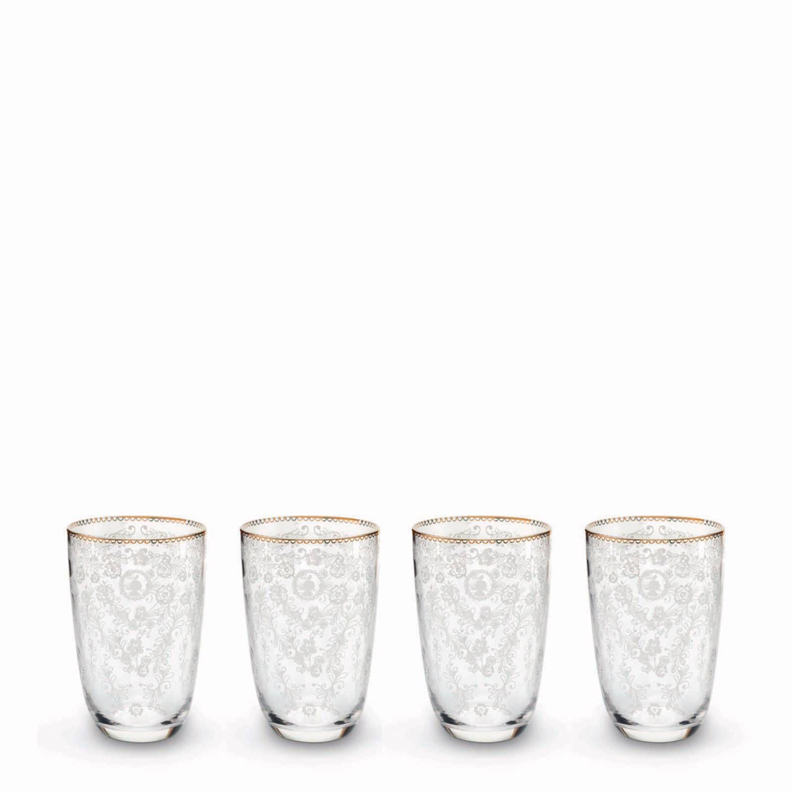 Pip Studio Floral longdrinkglas (Ø8,6 cm) (set van 4)