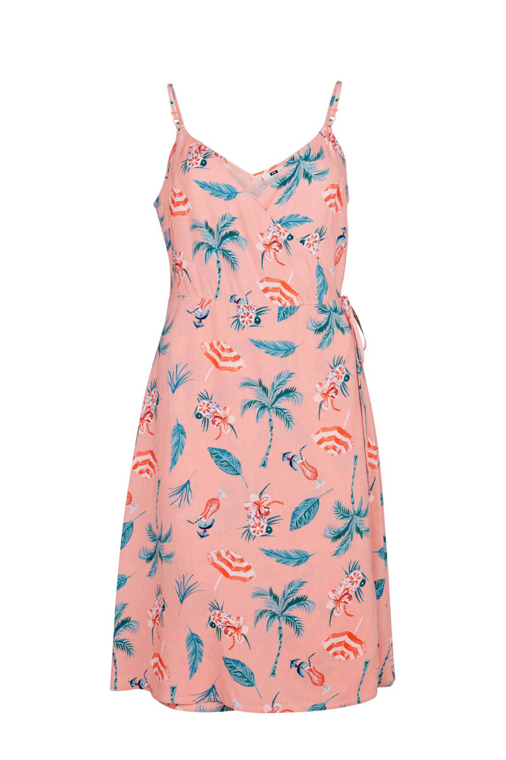 WE Fashion overslagjurk met all-over print roze, Roze