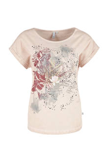 T-shirt met printopdruk lichtbeige