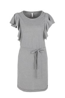 gestreepte jurk met volant zwart/wit