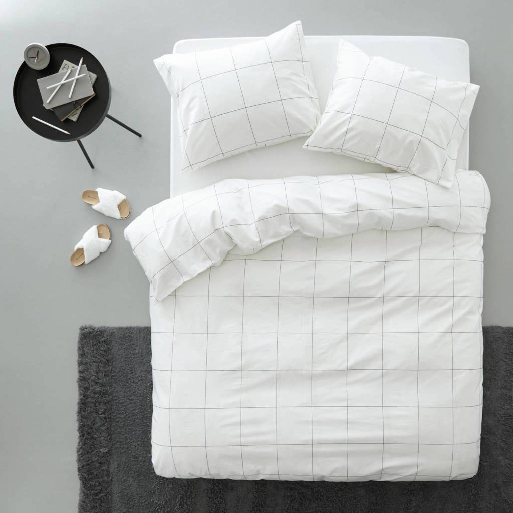 whkmp's own katoenen dekbedovertrek lits jumeaux, Wit/zwart, Lits-jumeaux (240 cm breed)