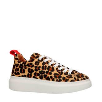 leren sneakers met luipaardprint camel