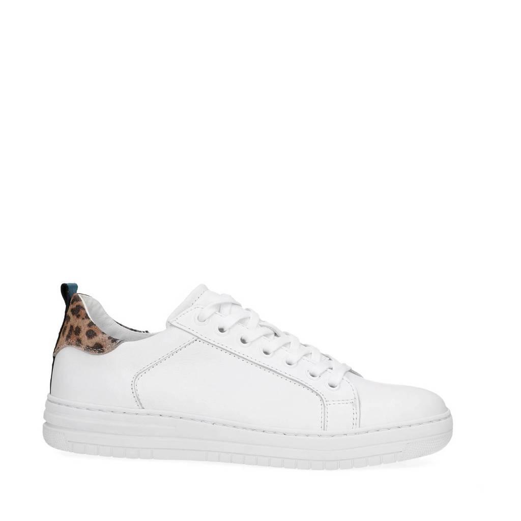 11e62f8efd8 Manfield leren sneakers met luipaardprint wit, Wit/blauw