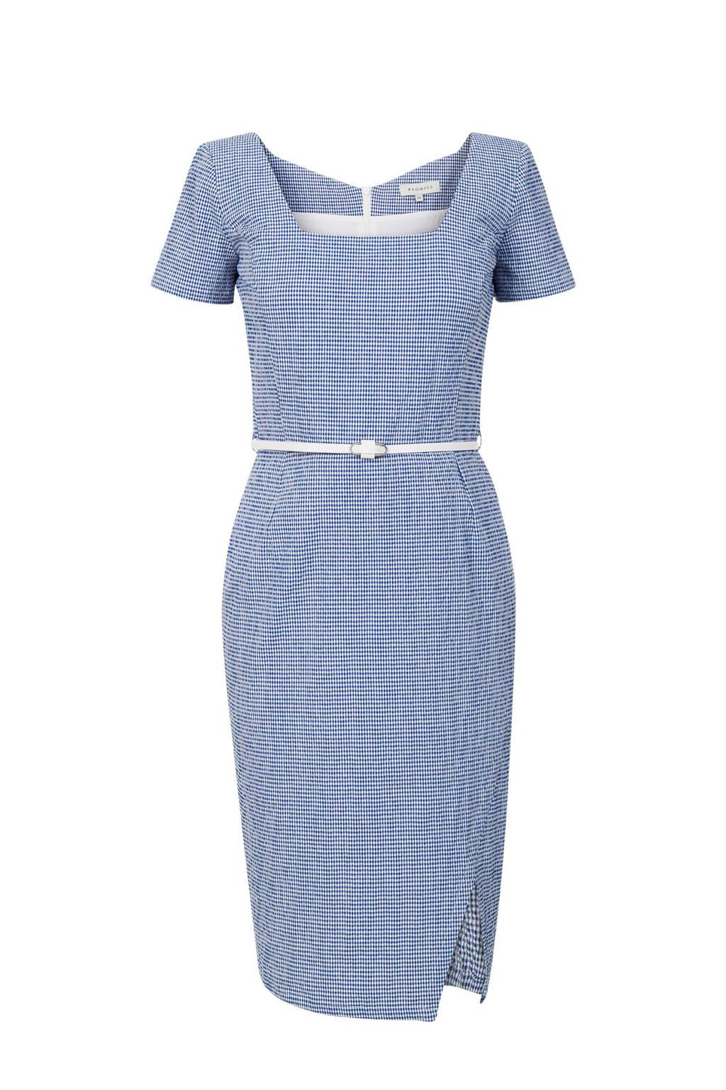 Promiss geruite jurk blauw/wit, Blauw/wit