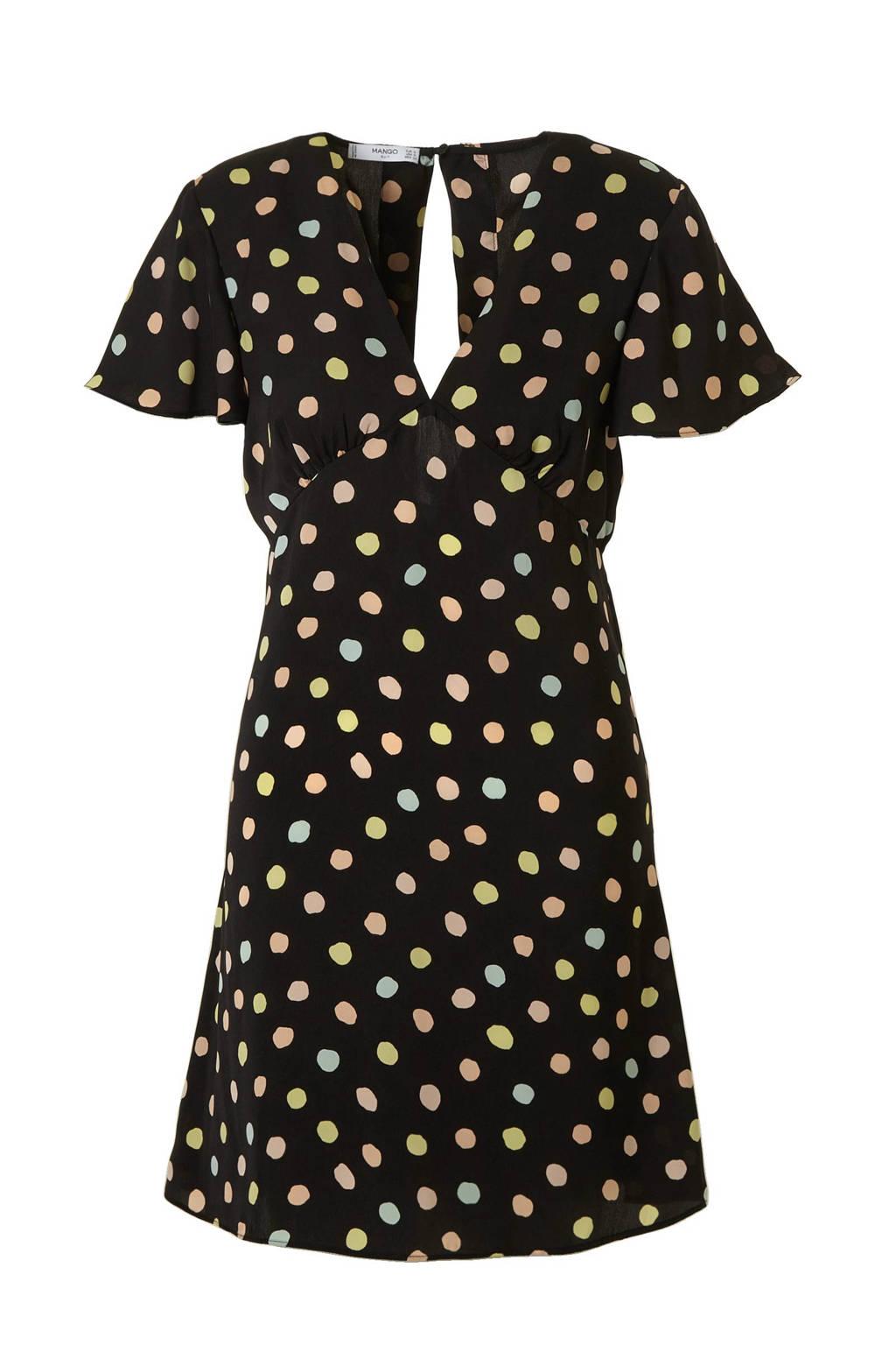 Mango jurk met stippen zwart, Zwart/roze/geel