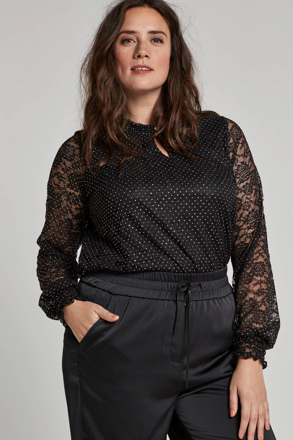 Zhenzi blouse met stippen, Zwart/goud