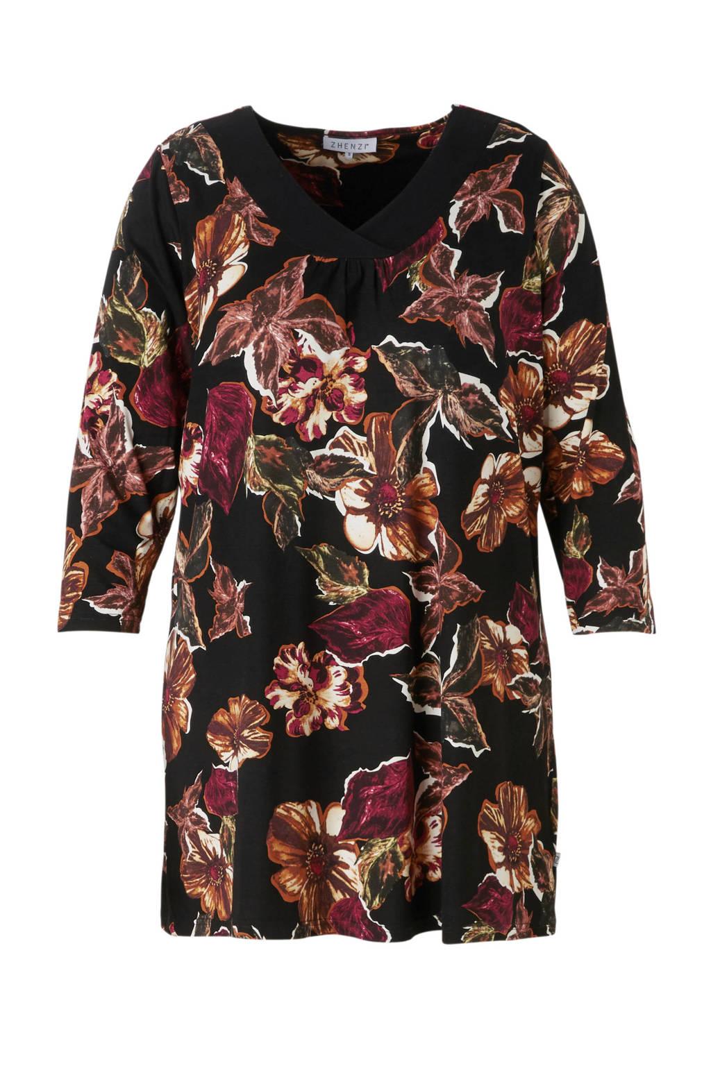 Zhenzi tuniek met bloemenprint, Zwart/bruin/rood