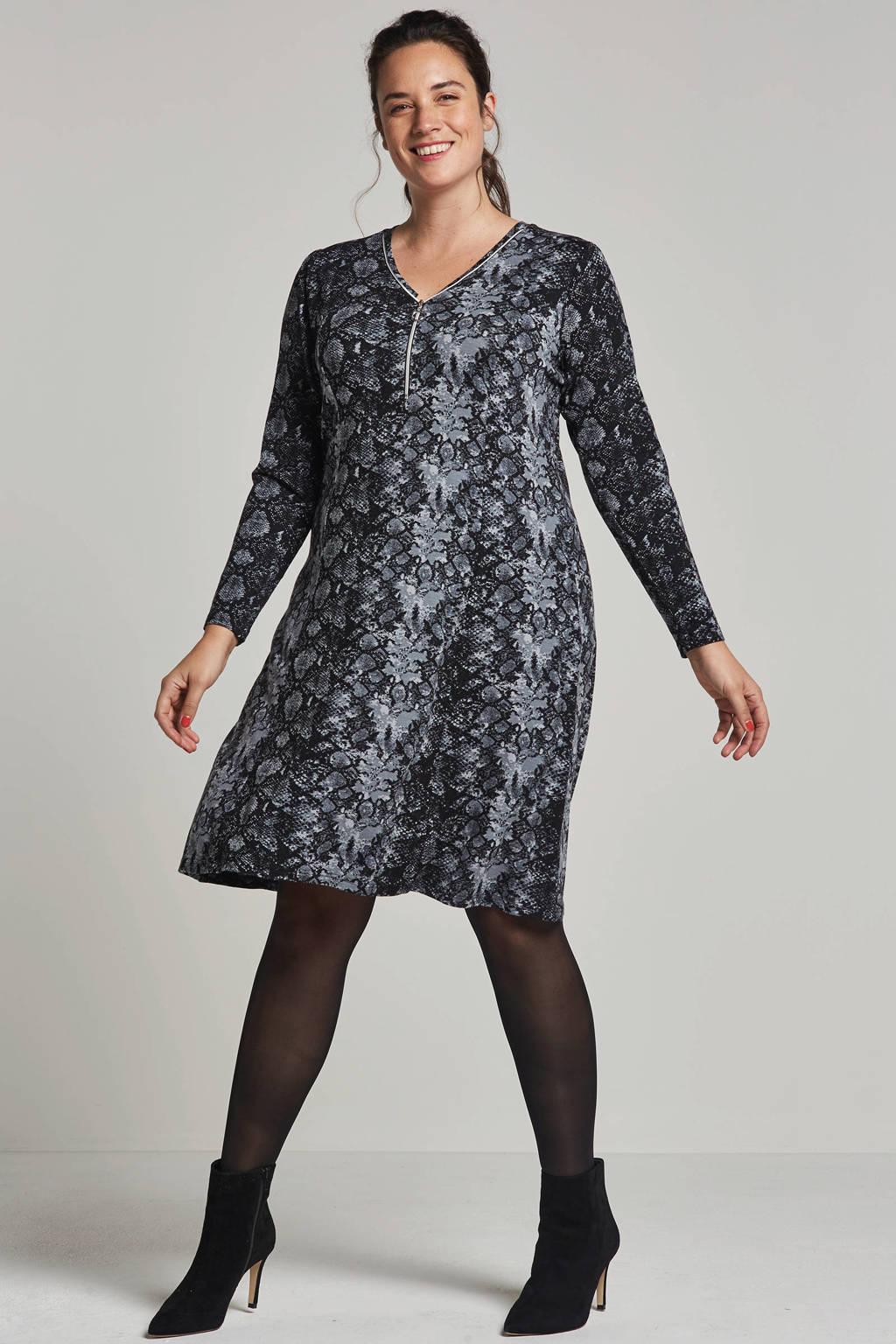 Zhenzi jurk met slangenprint, Grijs/zwart