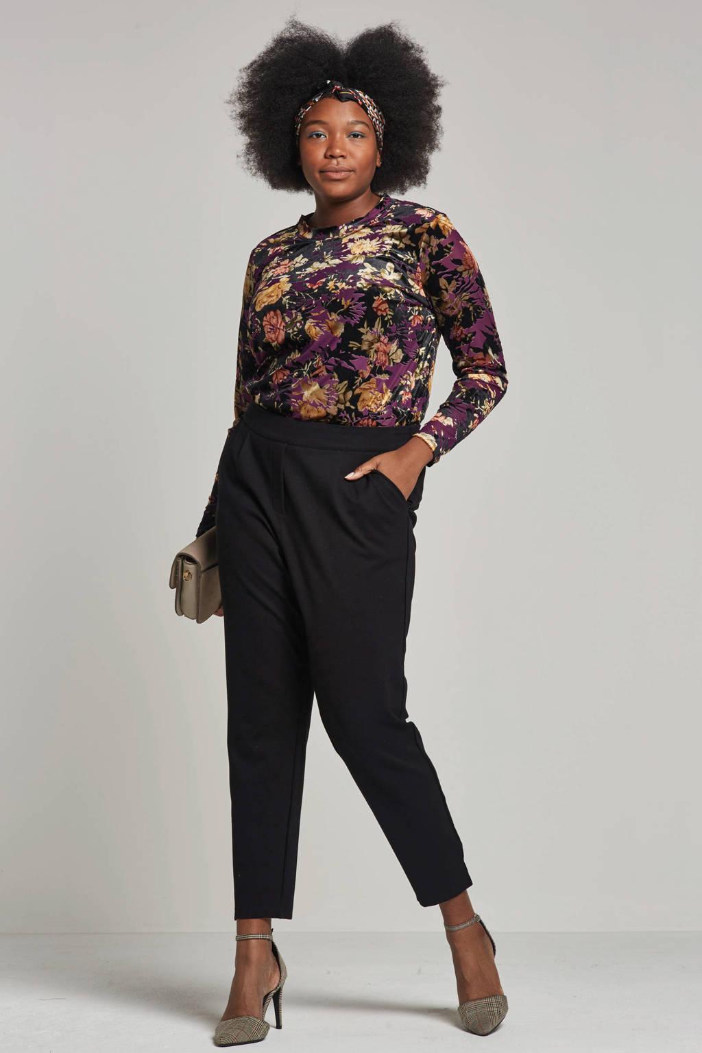 Zhenzi velvet top met all-over print, Zwart/paars/bruin