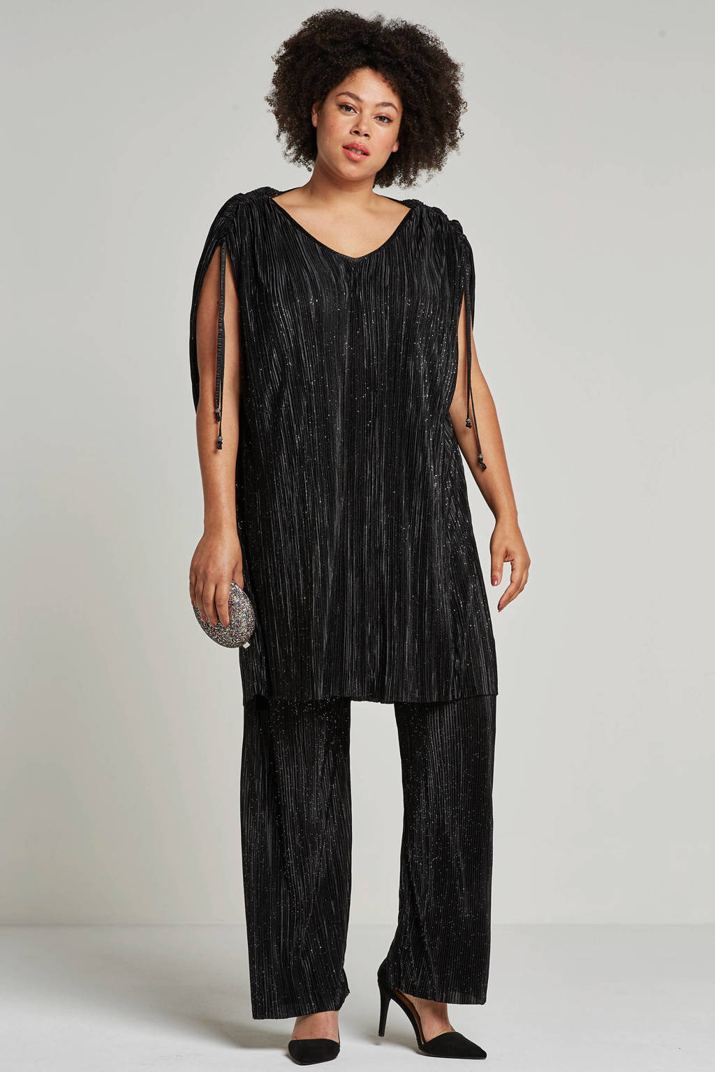 Zhenzi broek met glitter, Zwart/glitter