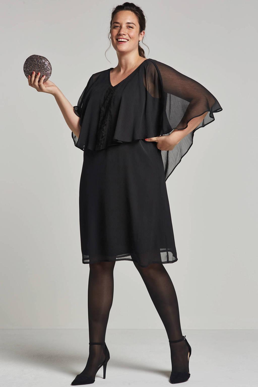 Zhenzi jurk met kant detail, Zwart