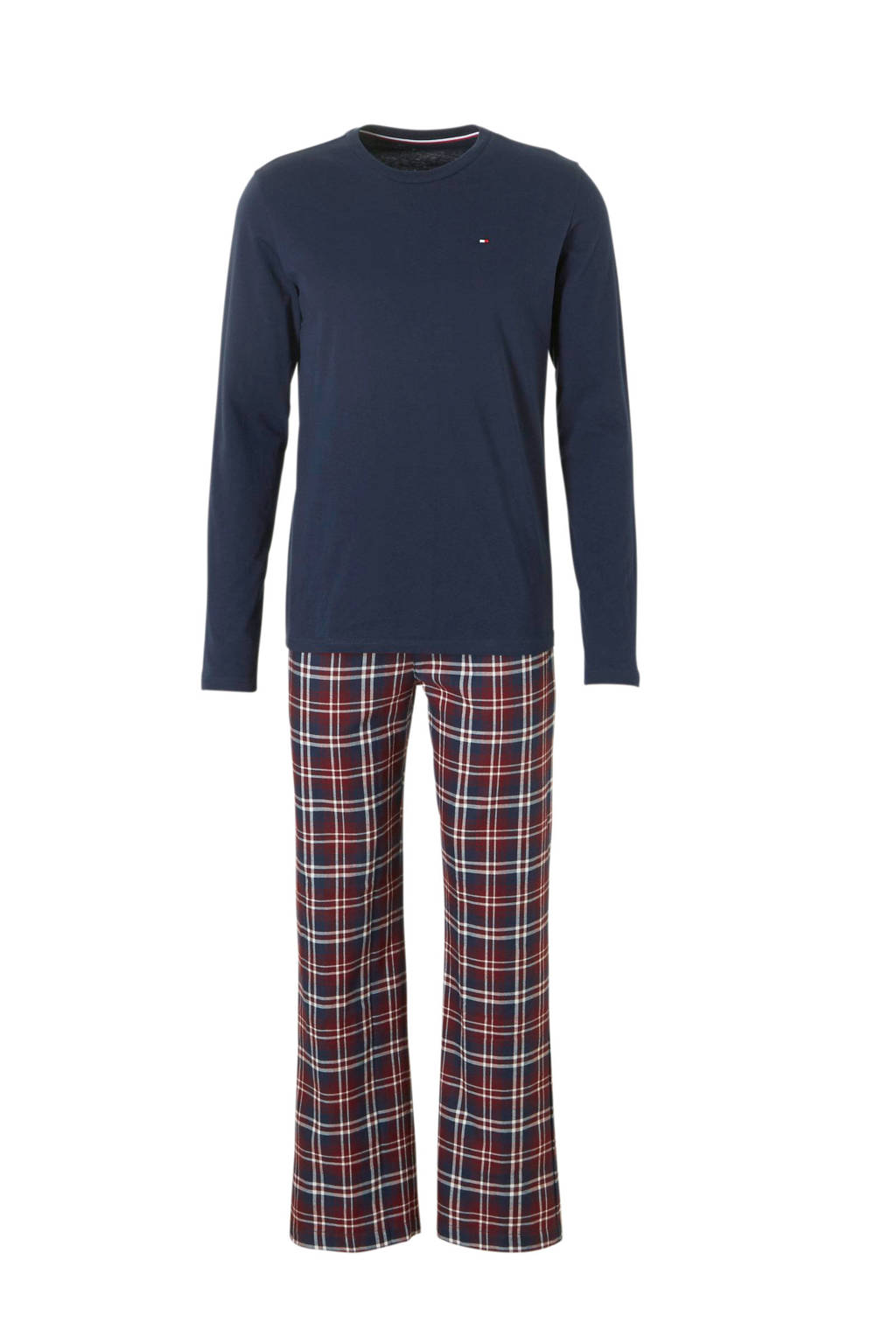 Tommy Hilfiger pyjama met ruit donkerblauw, Donkerblauw/rood/wit