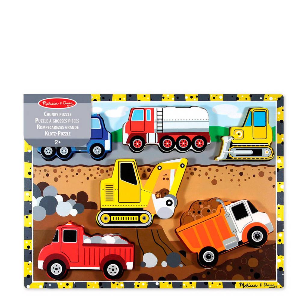 Melissa & Doug voertuigen houten vormenpuzzel 6 stukjes