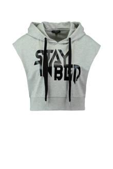 oversized hoodie met tekst grijs