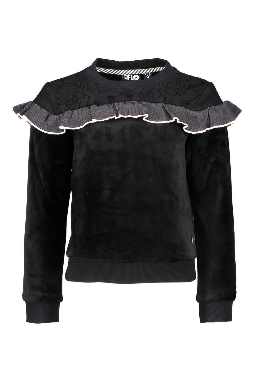 Like Flo fluwelen sweater met ruches zwart, Zwart