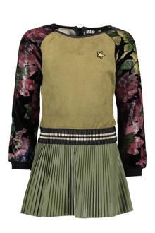 jurk met plissé rok kaki