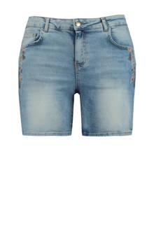slim fit jeans short met bloemen