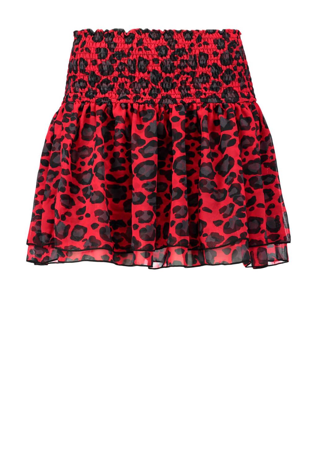 CoolCat rok met luipaardprint rood, Rood/zwart