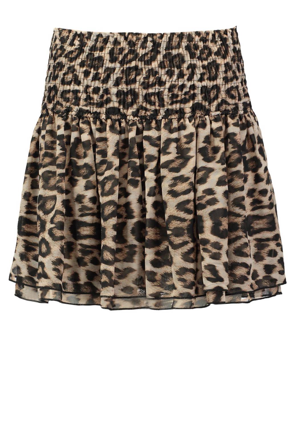 CoolCat rok met luipaardprint bruin, Donkerbruin