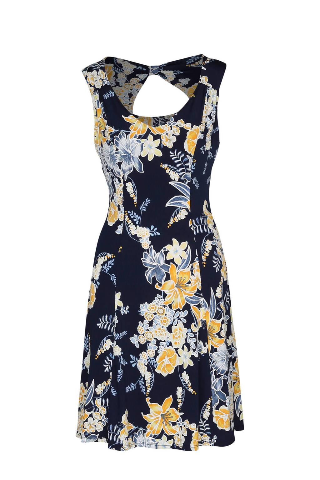 Cassis gebloemde jurk rugdecoletté marine, Marine/geel/blauw