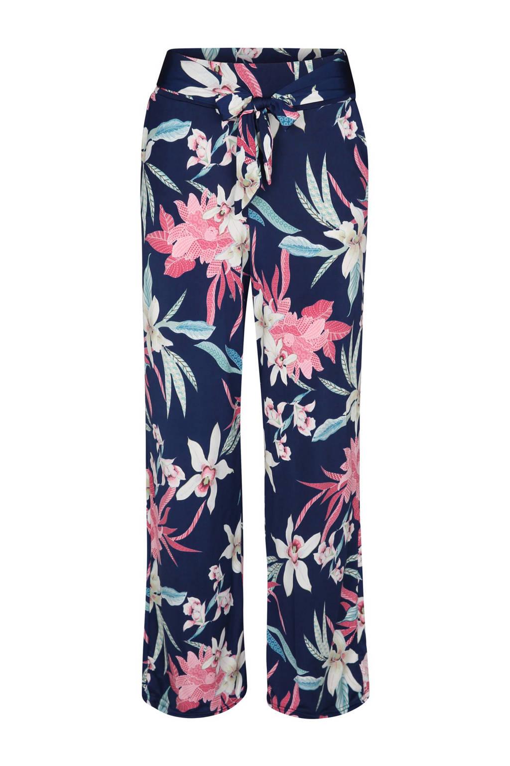 Cassis gebloemde broek marine, Marine/roze