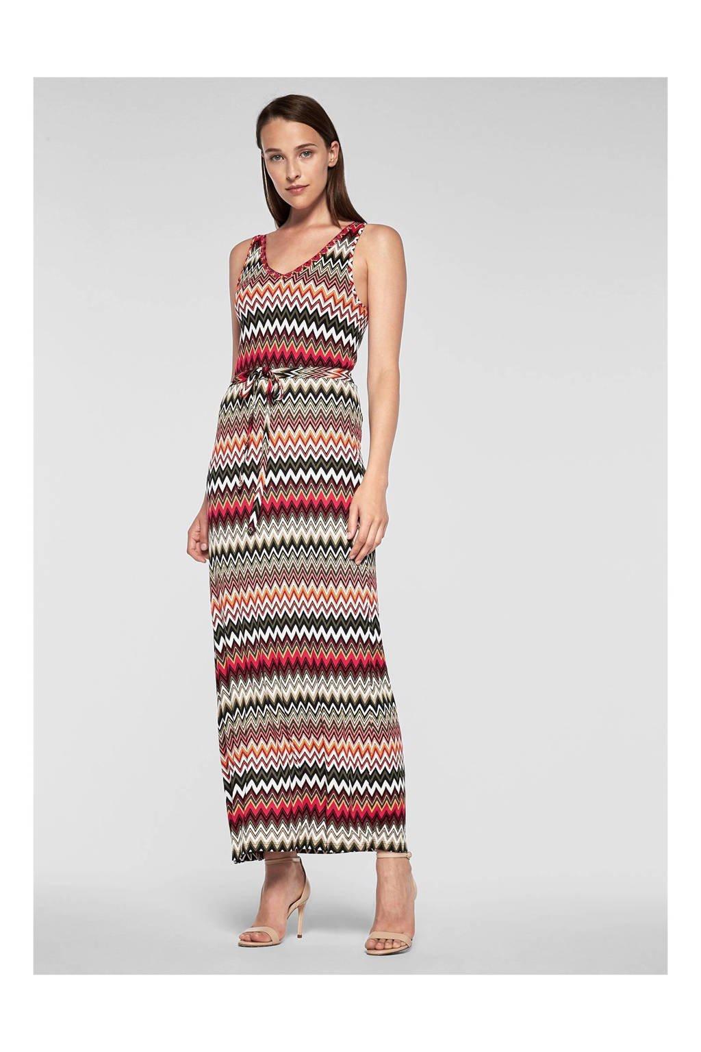 s.Oliver BLACK LABEL maxi jurk met all over print, Wit/Rood/Oranje/Groen