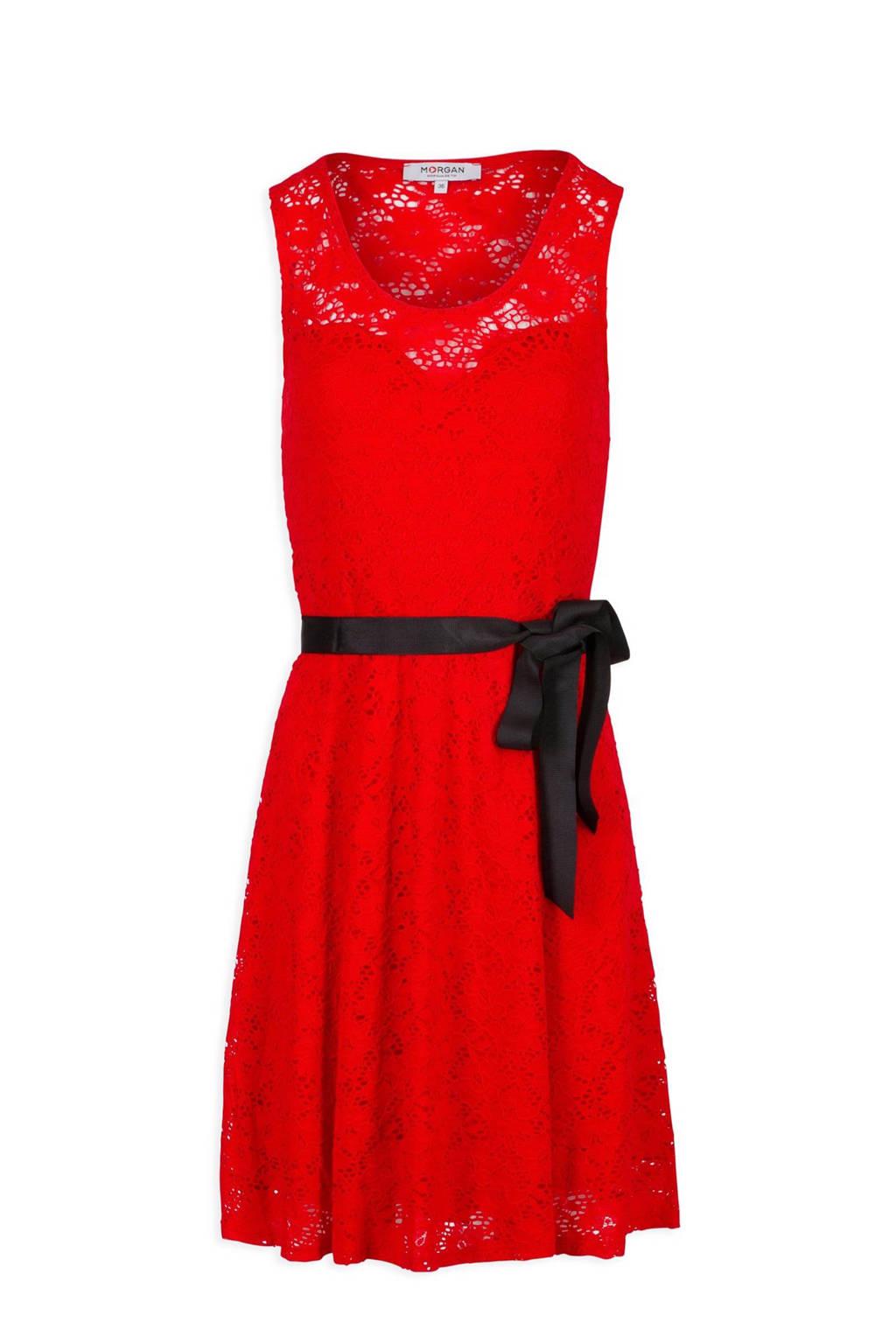 Morgan kanten jurk rood, Rood