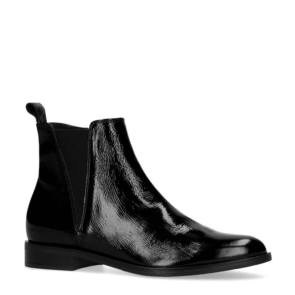 Manfield   lakleren chelsea boots zwart, Zwart