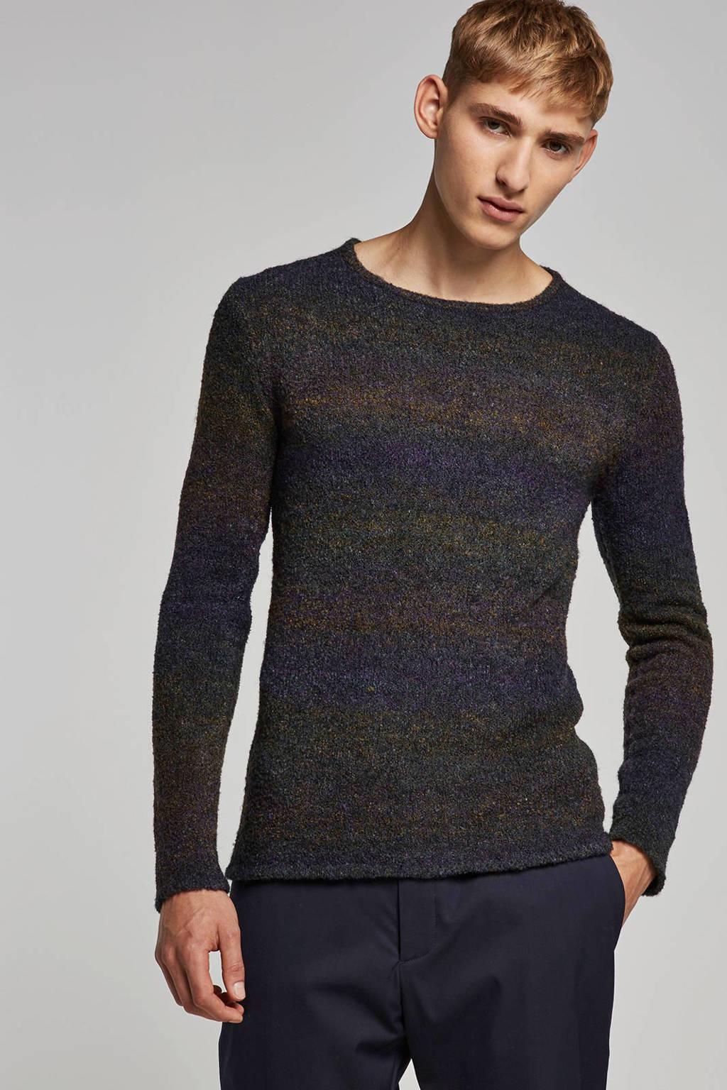 Anerkjendt trui met wol, Paars/bruin/blauw