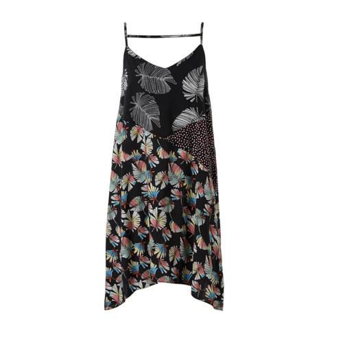A-lijn jurk met all-over print zwart