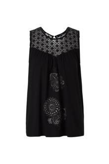top met crochet zwart