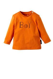 baby longsleeve Tiverton met tekst oranje