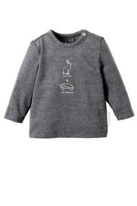 Noppies baby longsleeve met printopdruk grijs/wit, Grijs/wit