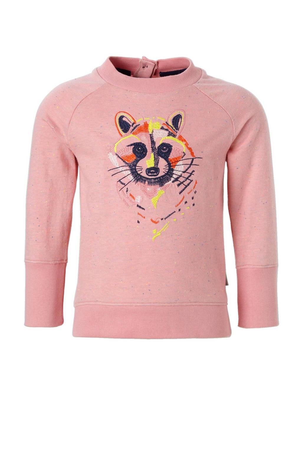 Noppies sweater Toney met borduursels roze, Roze/marine