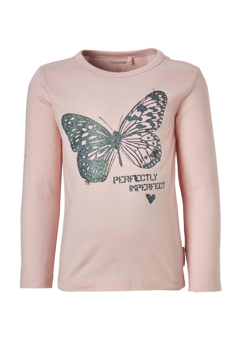 Noppies longsleeve Whitinsville met vlinder roze, lichtroze/groen