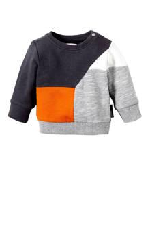 baby sweater Truckee grijs/oranje