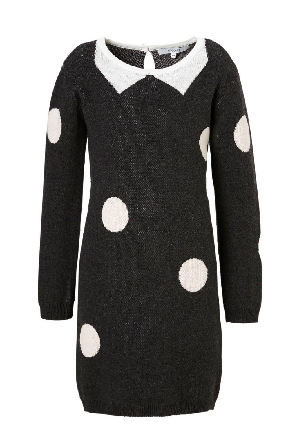 Noppies jurk Westwood met stippen grijs, Donkergrijs/wit