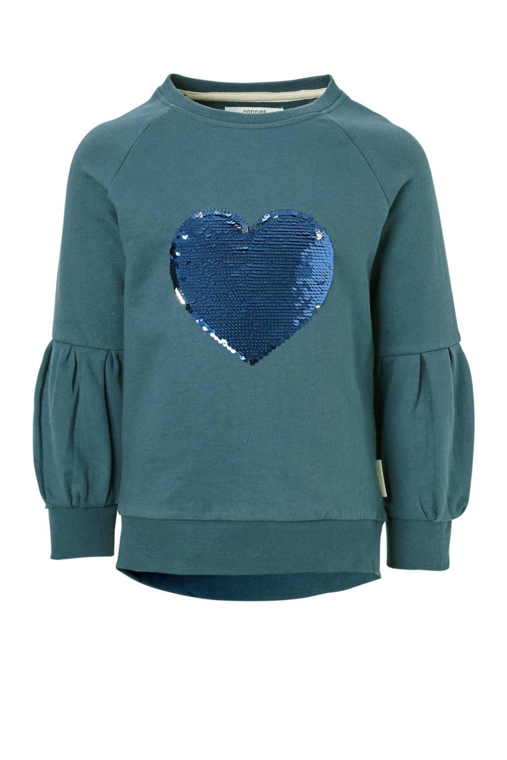 Noppies sweater Wethersfield met omkeerbare pailletten, Petrol/blauw/zilver