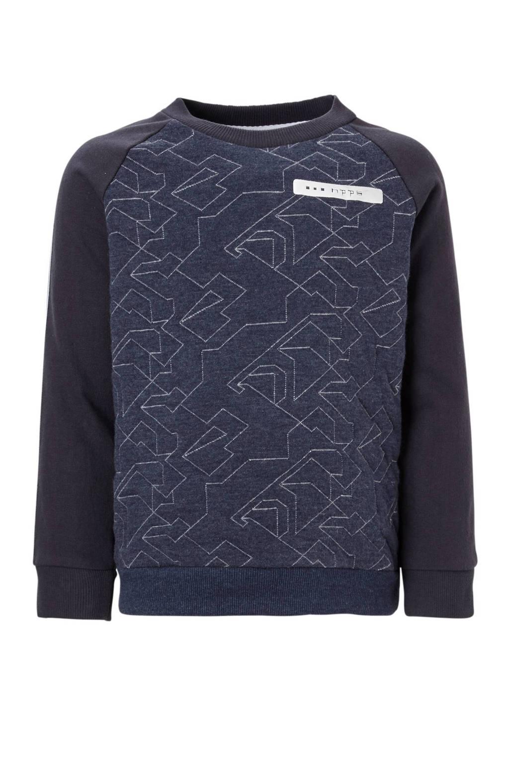 Noppies sweater Westbrook met zijstreep blauw, Donkerblauw