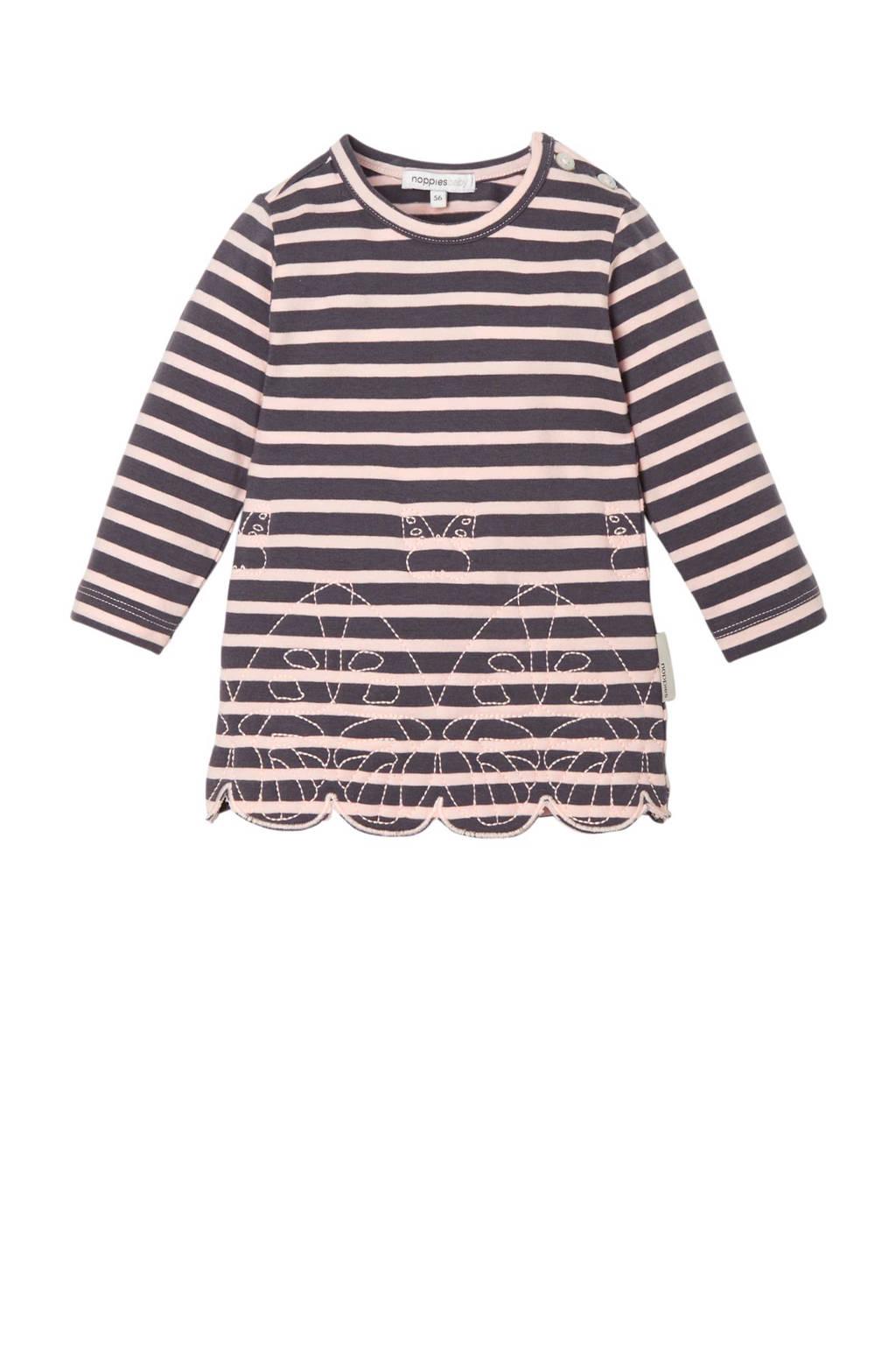Noppies baby gestreepte jurk Weigelstown, Grijs/lichtroze