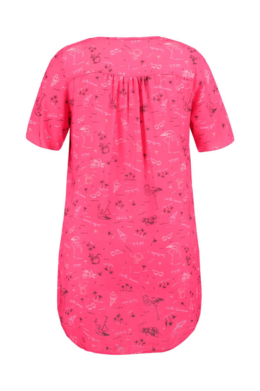 MS Mode lange top met rits all-over print roze, Roze