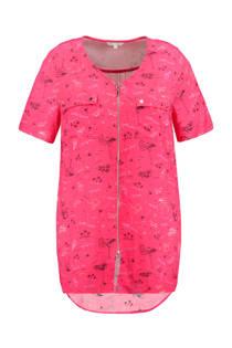 MS Mode lange top met rits all-over print roze (dames)