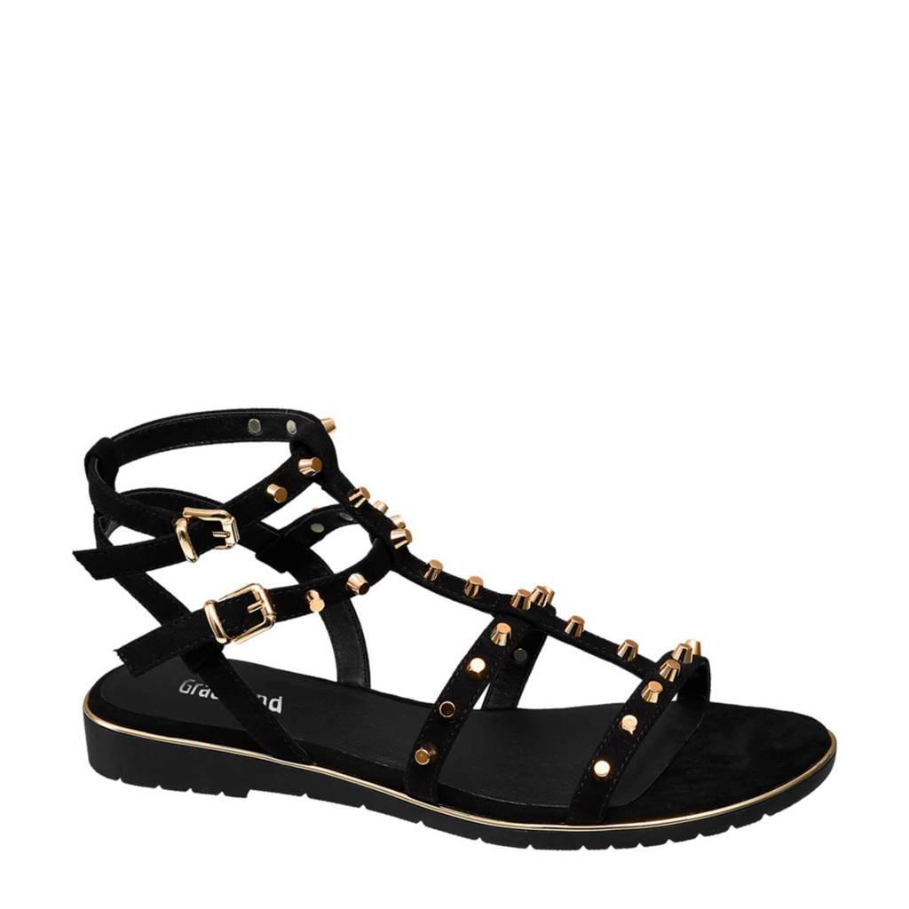 vanHaren Graceland sandalen met studs zwart, Zwart/goud