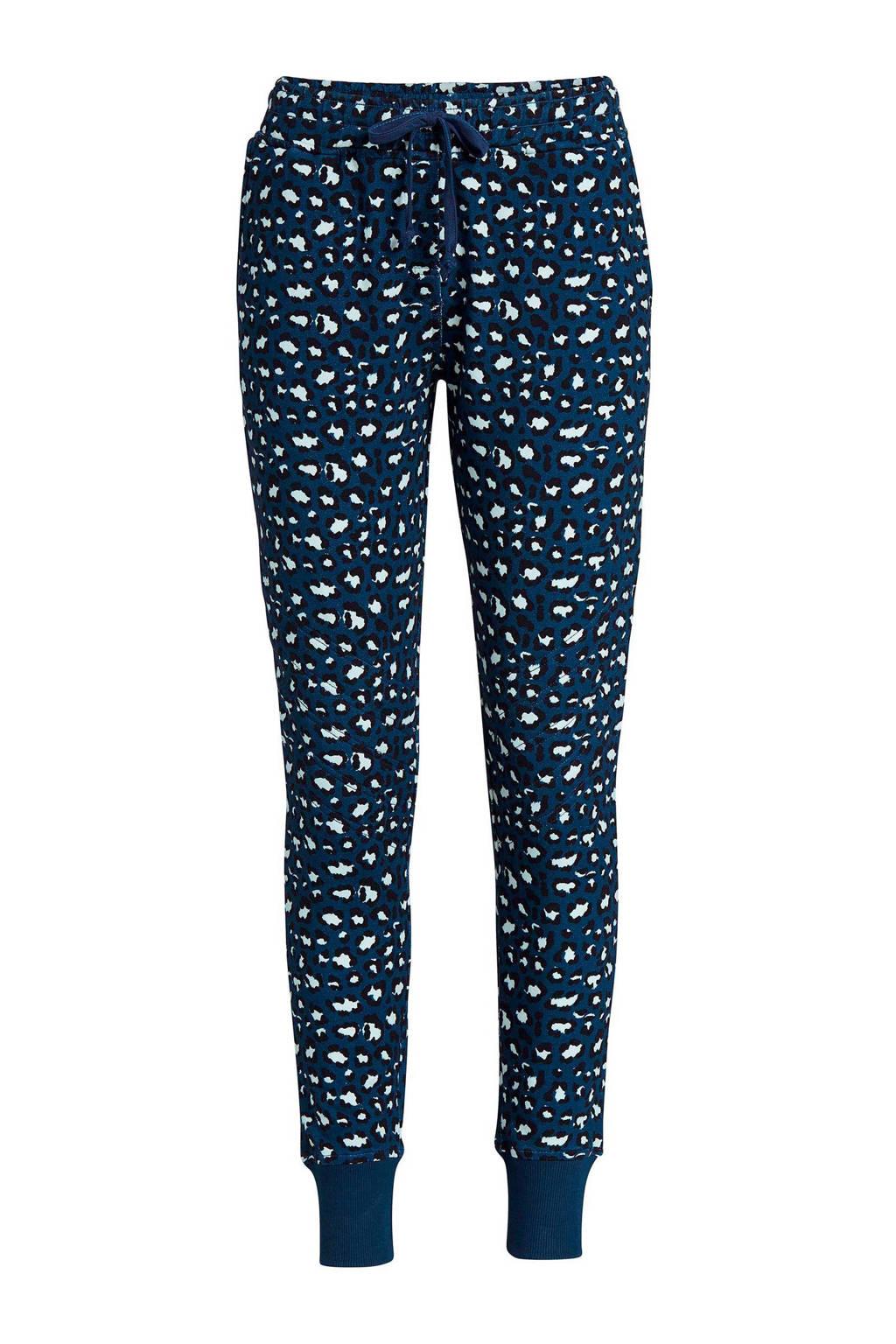 Essenza loungebroek met luipaardprint blauw/zwart, Blauw/zwart/ecru