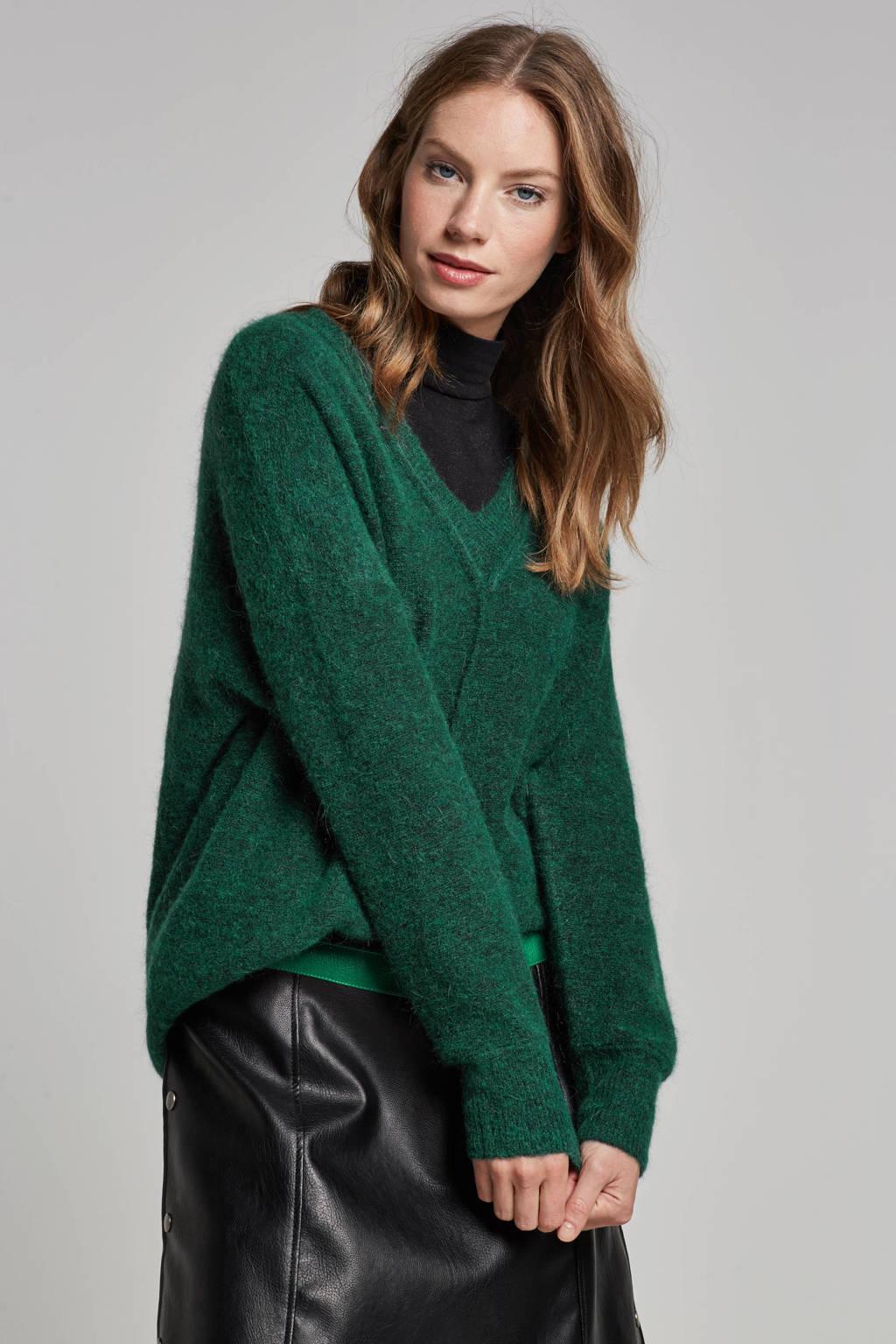FREEQUENT Moto trui met wol, Groen