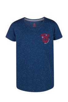 T-shirt met structuur blauw