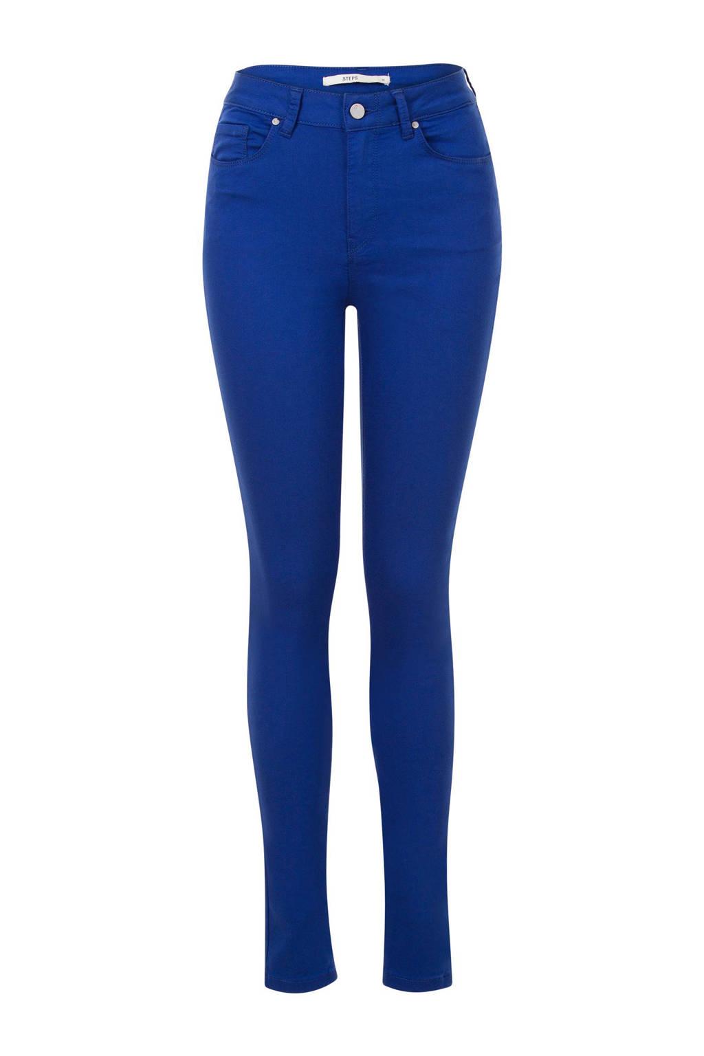 Steps high waist skinny jeans blauw, Kobaltblauw