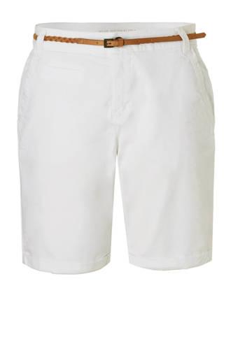 Yessica regular fit bermuda met riem wit