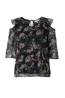 XL Clockhouse open shoulder top met bloemen zwart